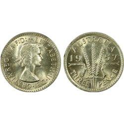 Australia 3 Pence 1957 PCGS MS 65