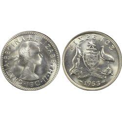 Australia 6 Pence 1953 PCGS MS 65