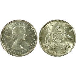 Australia 6 Pence 1954 PCGS MS 66