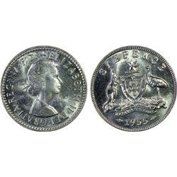 Australia 6 Pence 1955 PCGS MS 65