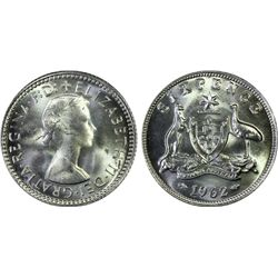 Australia 6 Pence 1962 PCGS MS 66