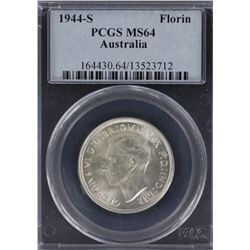 Australia 1944S Florin PCGS MS64