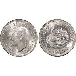 1950 Shilling PCGS MS 63