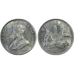 1934 Sixpence PCGS AU 58