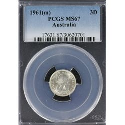 1961 Threepence PCGS MS 67