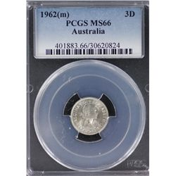 1962 Threepence PCGS MS 66