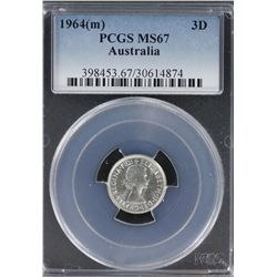 1964 Threepence PCGS MS 67