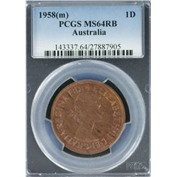 1958 M Penny PCGS MS 64 RB