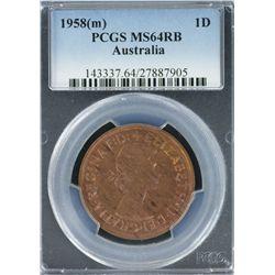 1958 M Penny PCGS MS 64 RB