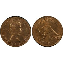 1959P Penny PCGS MS 63 RB