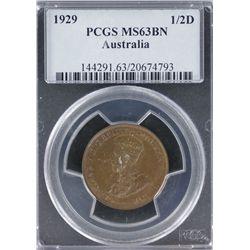 1929 Halfpenny PCGS MS 63 BN