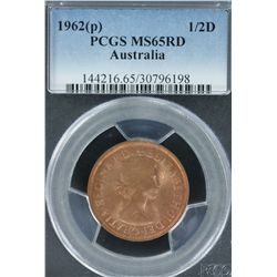 1962P Halfpenny PCGS MS 65 Red