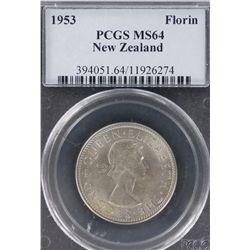 NZ 1953 Florin MS 64