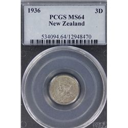 NZ 1936 3 Pence MS 64