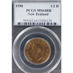 NZ 1950 Halfpenny MS 64 RB