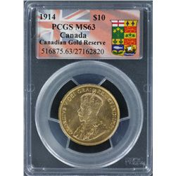 Canada 1914 $10 PCGS Graded MS 63
