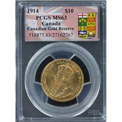 Canada 1914 $10 PCGS Graded MS 63