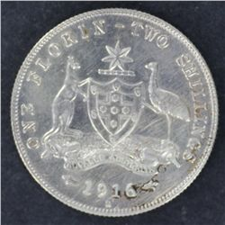 Florin 1916 nearly EF