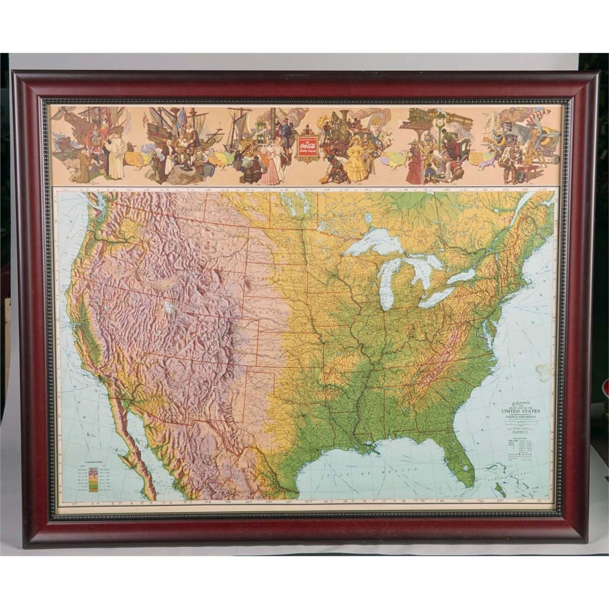 Coca Cola Bottling Company Flat Relief Map of USA