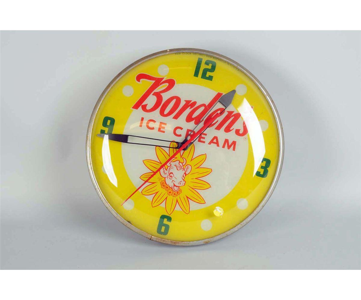 Borden's Ice Cream Round Lighted Wall Clock