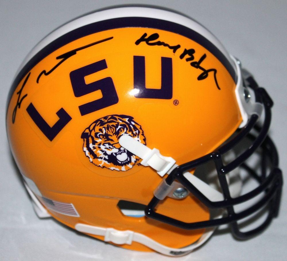 e9e12509028 Image 1   Tyrann Mathieu Signed LSU Mini-Helmet Inscribed
