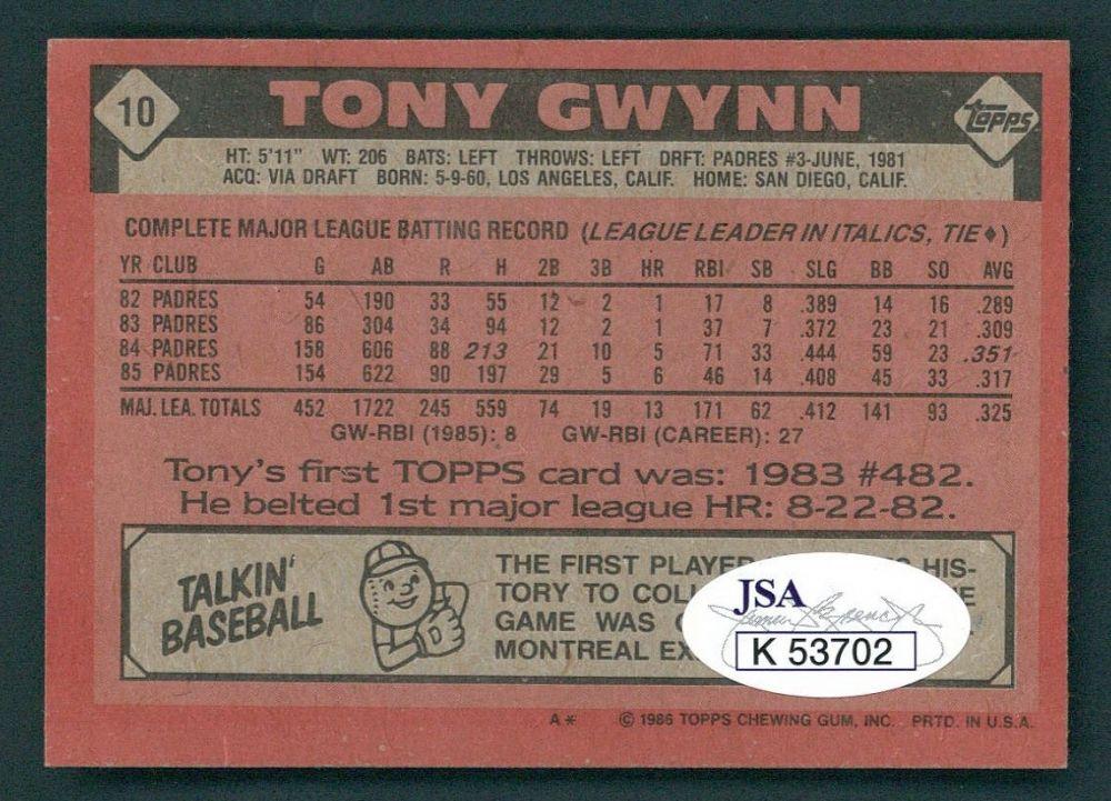 Tony Gwynn Signed 1986 Topps Baseball Card Jsa Coa