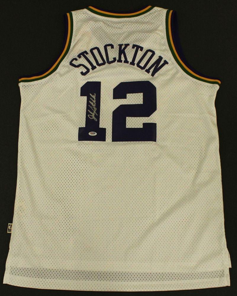 competitive price fe0d7 7c712 John Stockton Signed Jazz Jersey (PSA Hologram)