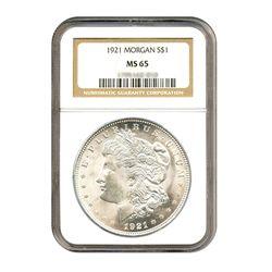 1921 $1 Morgan Silver Dollar - NGC MS65