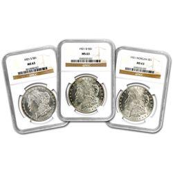 1921-P/D/S Morgan Silver Dollar 3pc Set NGC MS63