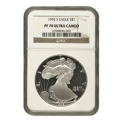 1992 $1 Silver American Eagle PF70