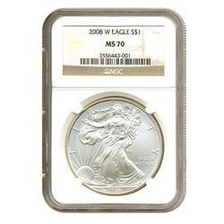 2008-W $1 Silver American Eagle MS70