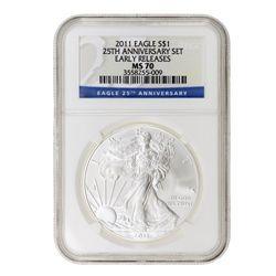 2011 $1 Silver American Eagle MS70