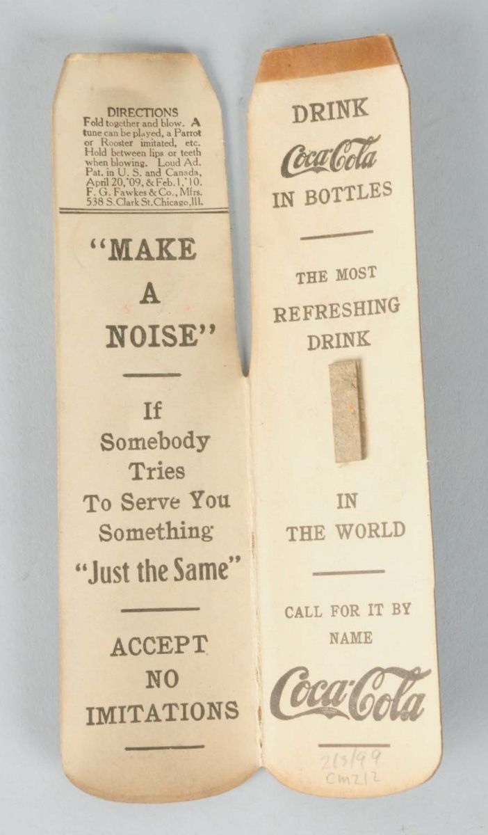 1910-16 Coca-Cola Cardboard Whistle
