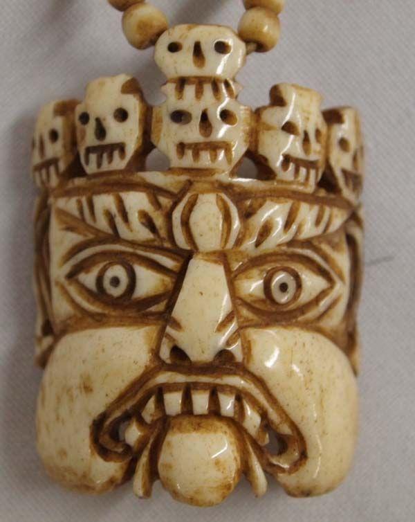 Carved Bone Skull Bead Necklace
