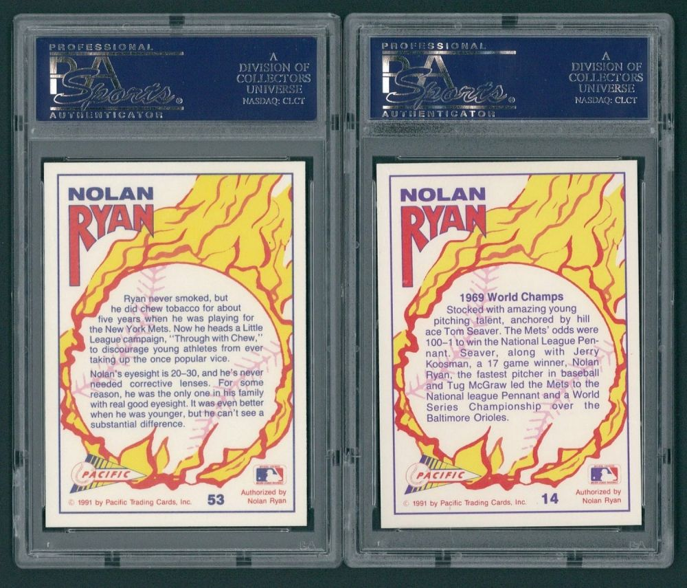 Lot Of 2 Psa 10 Nolan Ryan Baseball Cards With 1991