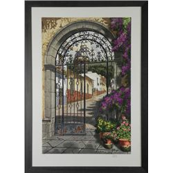 Juan Medina Signed Print Gateway to the Village -Framed