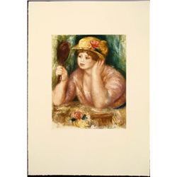 Renoir Colored Etching Art Print - Femme au Mirroir