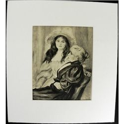 Renoir Engraving Madame Berthe and Daughter Print