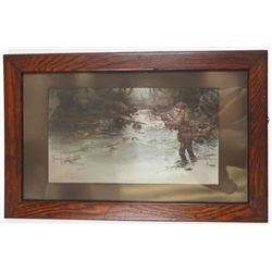 Early 1900's Fly Fisherman on River Oil on Board Signed