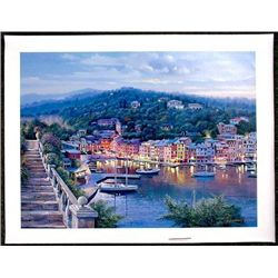 TWILIGHT IN PORTOFINO Blue Signed LE Sipos Art Canvas