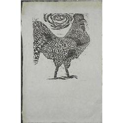 Betty Heredia Original Woodcut Print- Roosters World