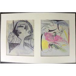 Pablo Picasso Double Head Colored Sketch Lithograph