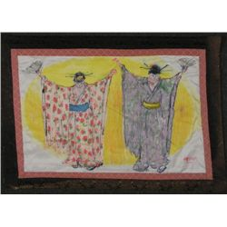 Betty Snyder Rees Orig Fabric Painting Chinese Women