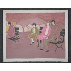 Harold Baumbach Signed Proof Print Park Bench w/People