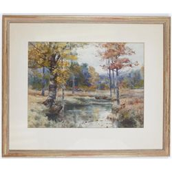 Melbourne Hardwick Watercolor Painting of Trees & River