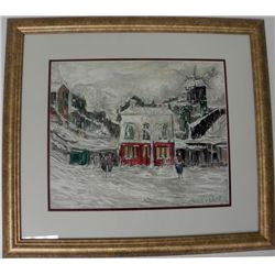 Maurice Utrillo Winter in Montmarte Litho Signed Framed