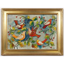 Glazed Enamel Dove Mixed Media Painting in Gold Frame