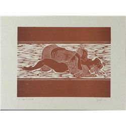 Jack Woodcut Erotic Art Print Proof Japanese Style