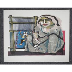 Jorges Dumas Signed Proof Print Woman Weaver