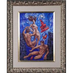 Original Surrealist Painting Underwater Nudes -Framed